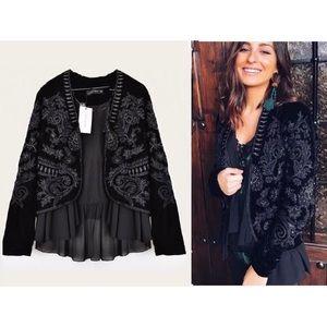 Zara Velvet Embroidered Ruffled Jacket M Boho